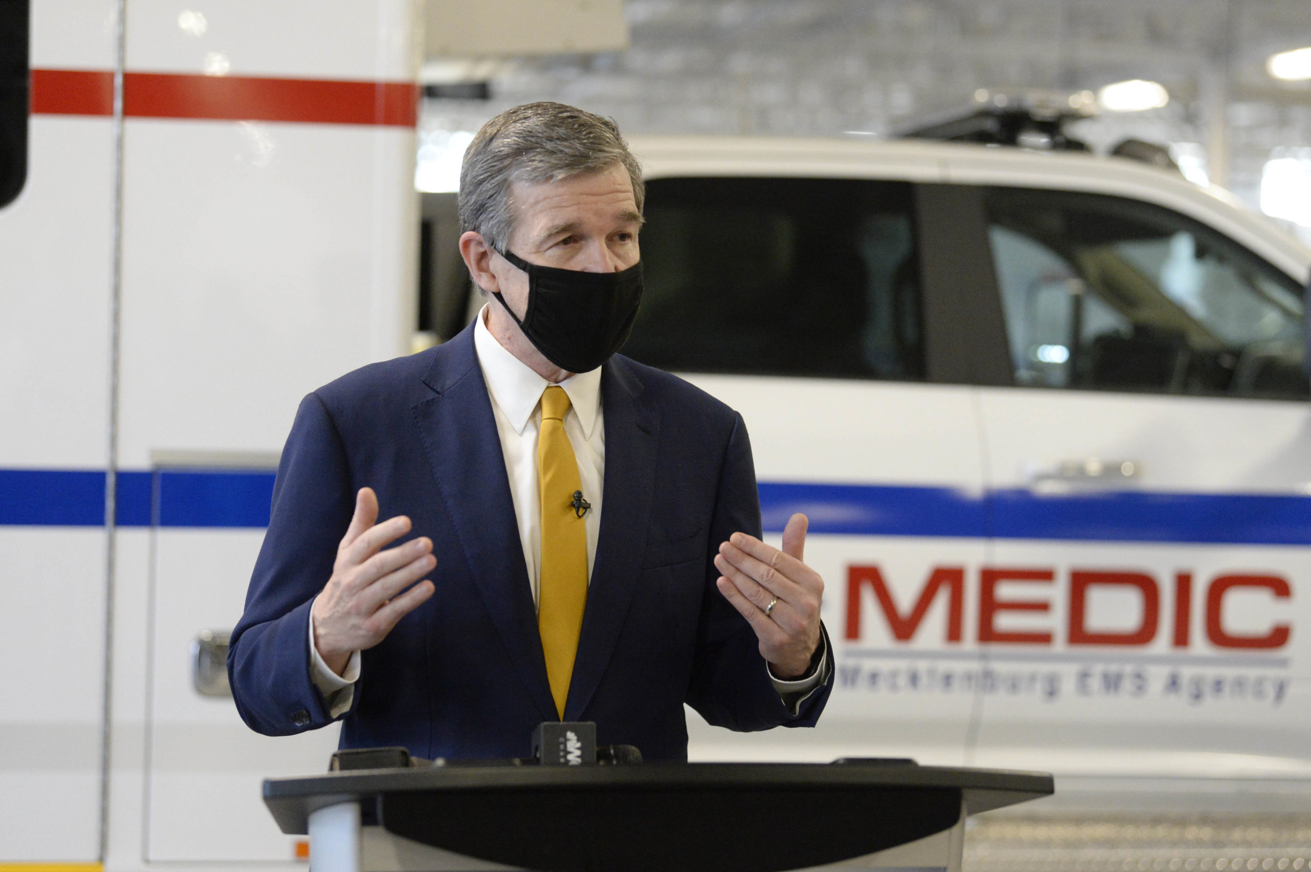WBTV – NC Governor Cooper Tours Medic's Vaccination Clinic